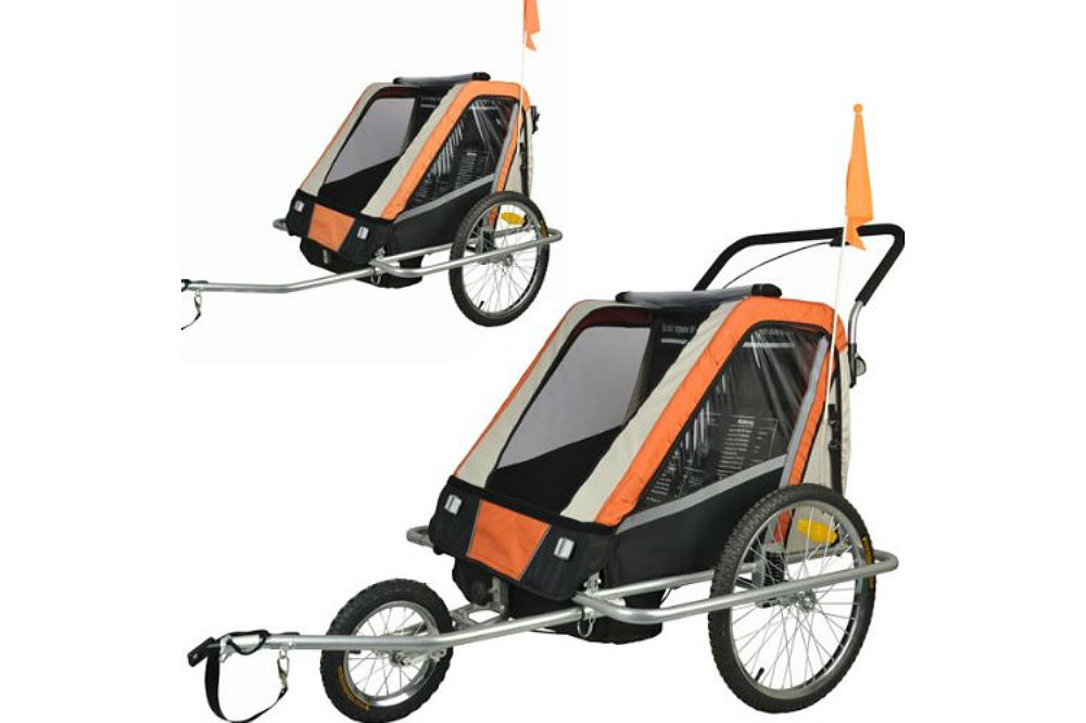 Suspension Children Bicycle Trailer & Jogger Combo Orange 50303